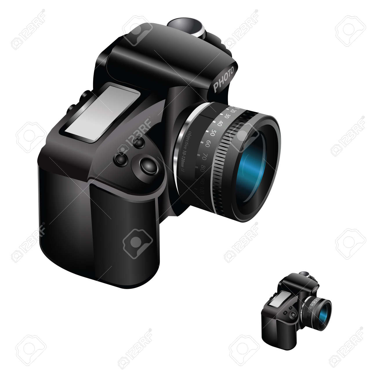 Vector realistic illustrated digital camera with zoom lens on white background Stock Vector - 18339963