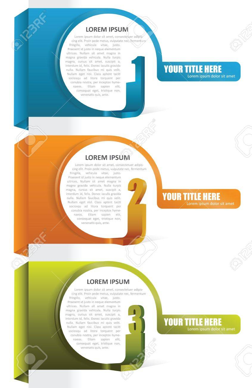 Three color vector background tabs with numbers and place for text Stock Vector - 19211166