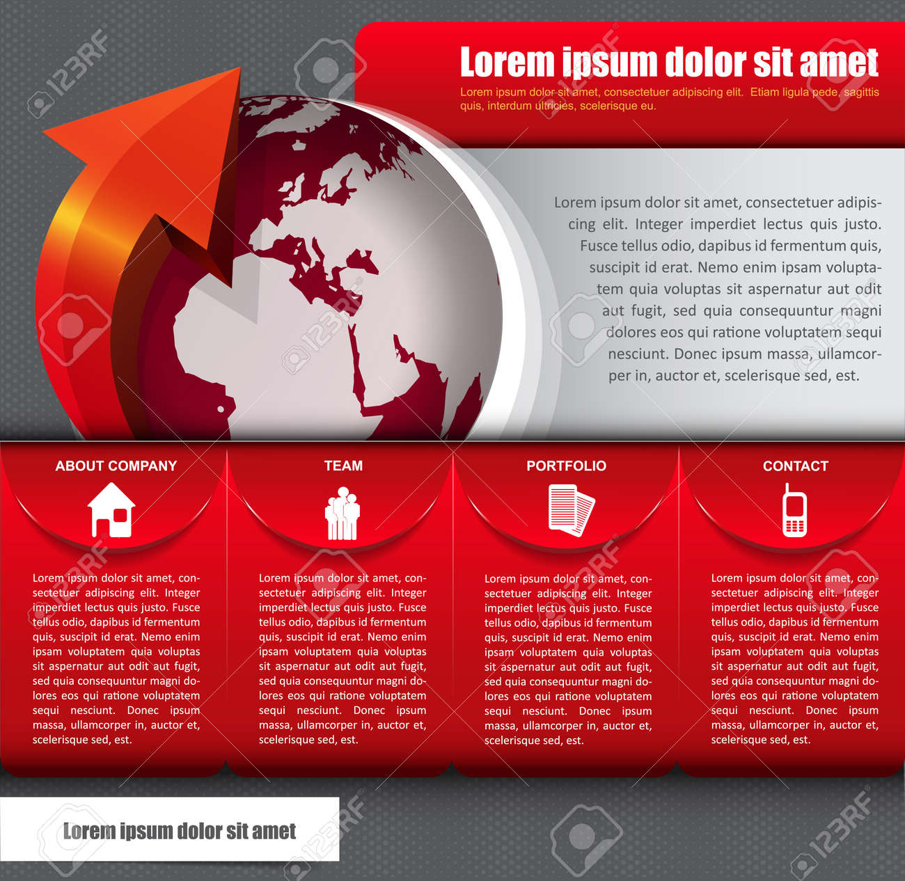 Vector abstract background with icons, globe and a description for company Stock Vector - 21566769
