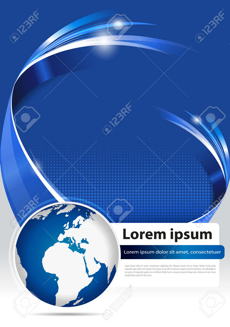 Abstract modern blue background for brochure, flyer, poster or cover with 3D stripe and globe for company Stock Vector - 23866684
