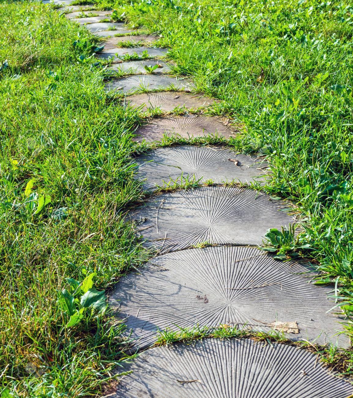 Genial Stepping Stone Walkway Garden Path. Stones Are Like The Tree. Stock Photo    62084837