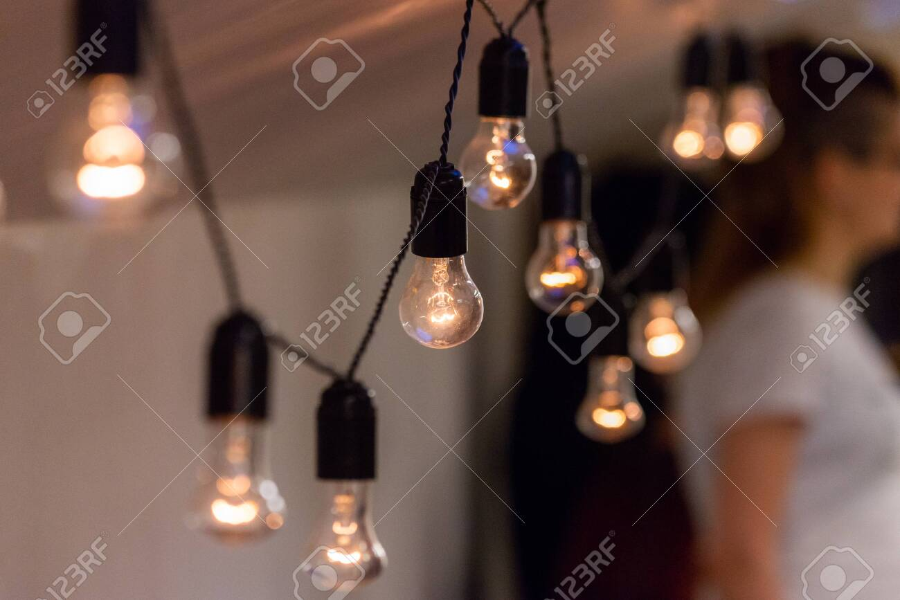 Close Up View Of Vintage Decorative Light Lamp Bulb Glowing On Stock Photo Picture And Royalty Free Image Image 121182626