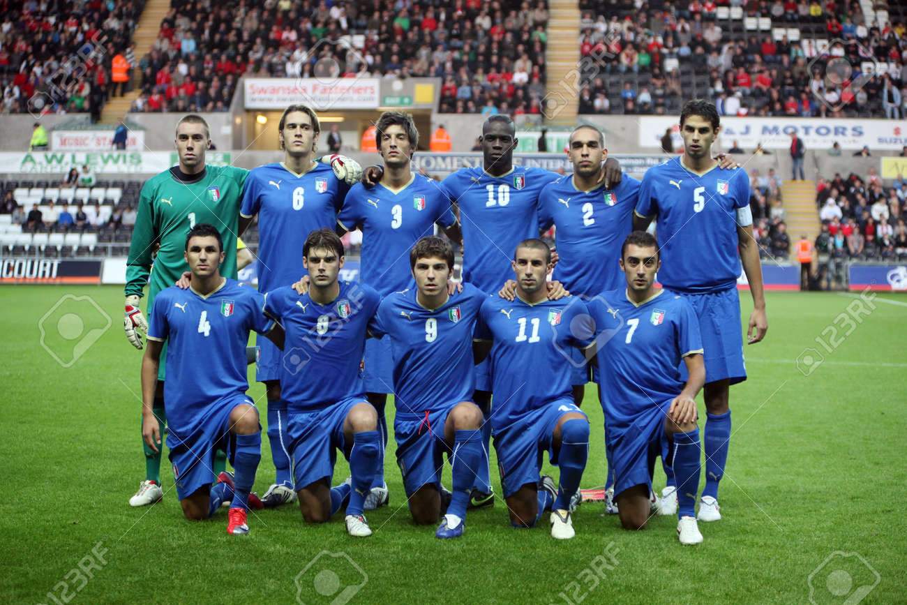 Swansea Wales September  Italy Under  Football Team Pose For P Ographers During