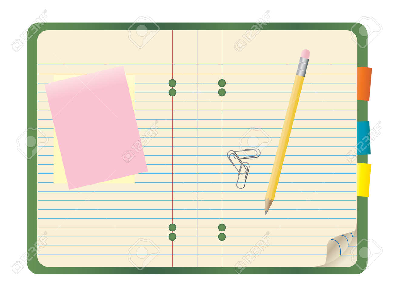 illustration of a notebook with a pencil, notepads and paper clips on top. Stock Vector - 7615726