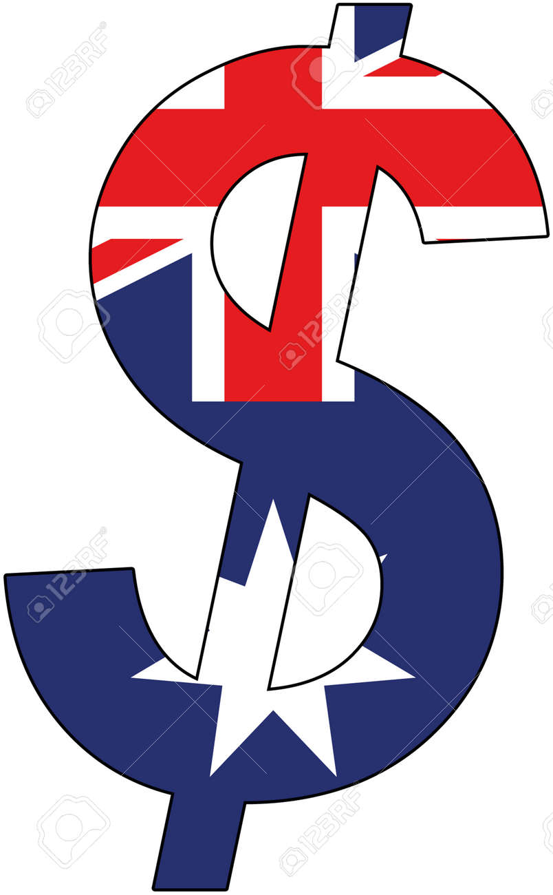 Dollar With Flag Of Australia Currency Valuta Anchor Currency