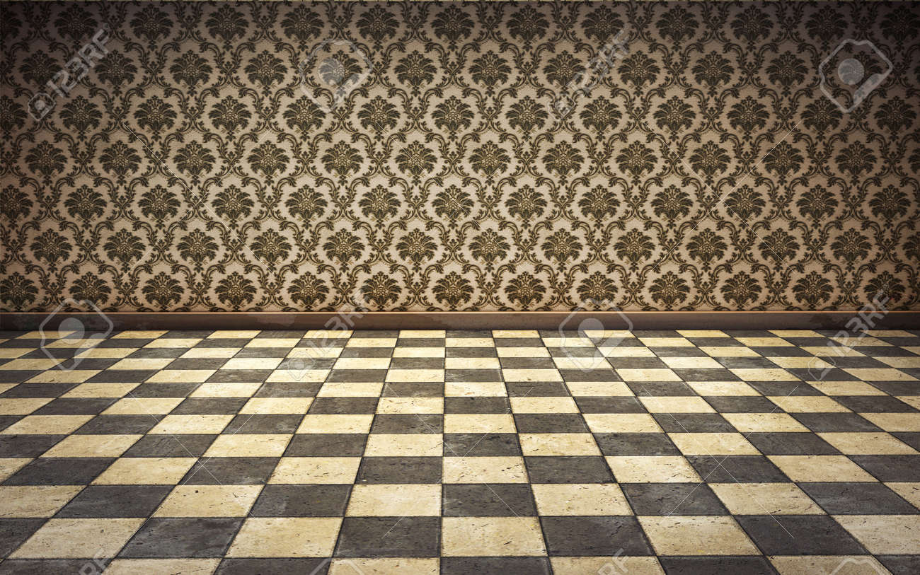Vintage room background with tiled floor stock photo picture and
