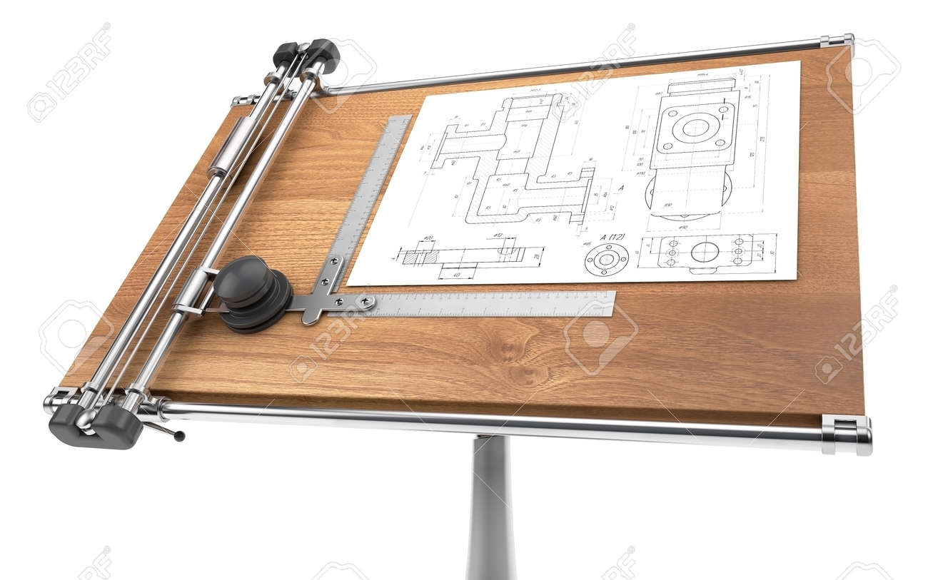Drawing table with project blueprint stock photo picture and drawing table with project blueprint stock photo 36636369 malvernweather Choice Image