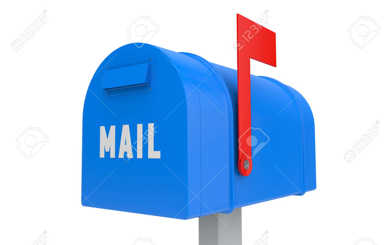 mailbox flag. blue mailbox with red flag up isolated on white clipping path stock photo 41120796
