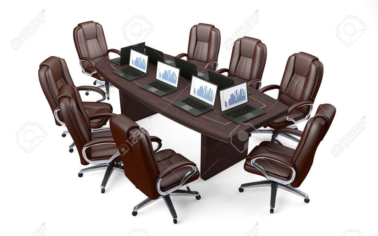Sillas Sala De Juntas.Sala De Juntas De Oficina Mesa Y Sillas De Conferencia Aislados En Blanco