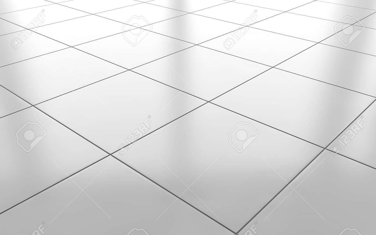 White Glossy Ceramic Tile Floor Pattern Background. 3d Rendering ...