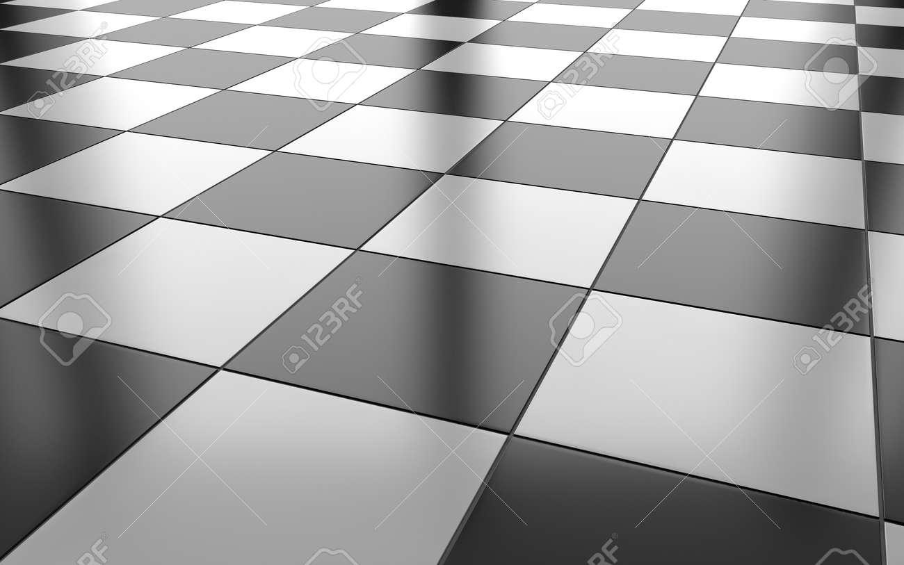 Fond de sol en carreaux de céramique brillant noir et blanc. Rendu 3D