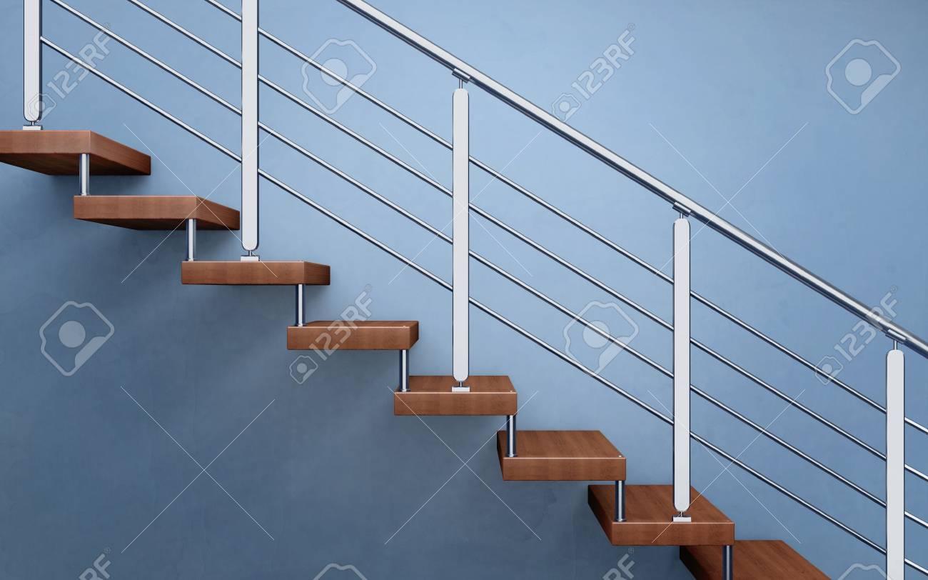 Escalier En Bois Moderne Avec Garde-corps Chromé. Rendu 3D Banque D ...