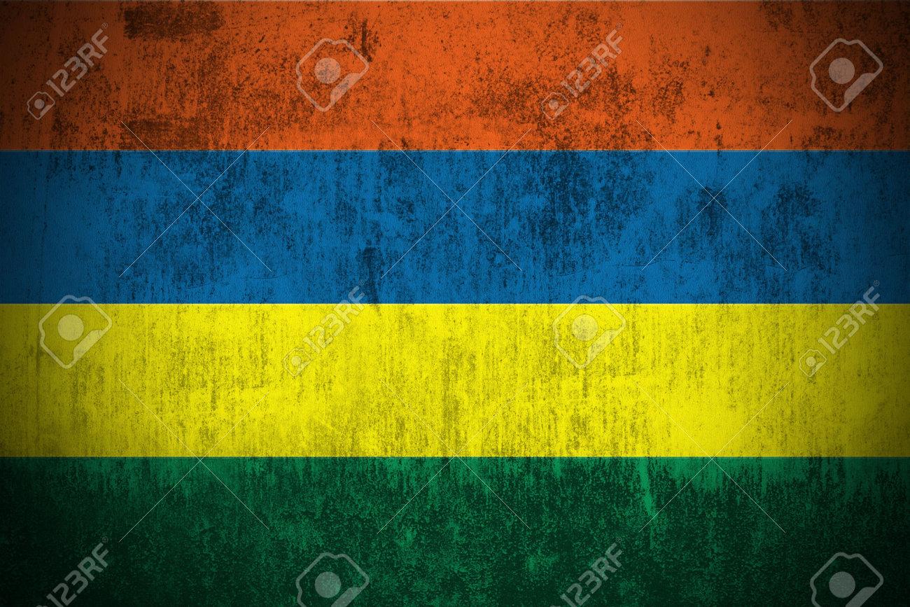 Weathered Flag Of Mauritius, fabric textured Stock Photo - 3467915