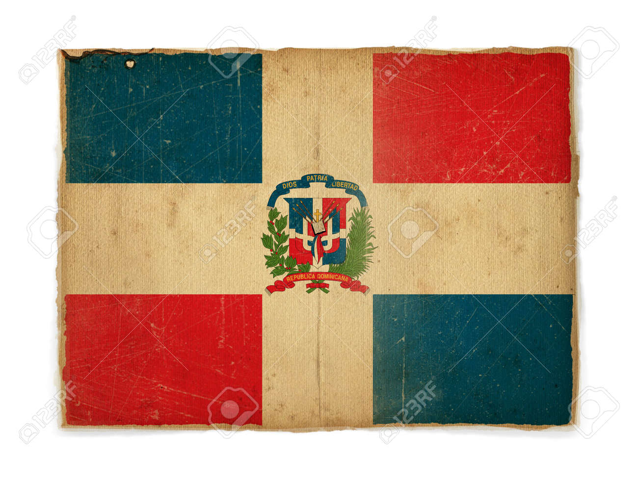 weathered flag of Dominican republic, paper textured Stock Photo - 5074710