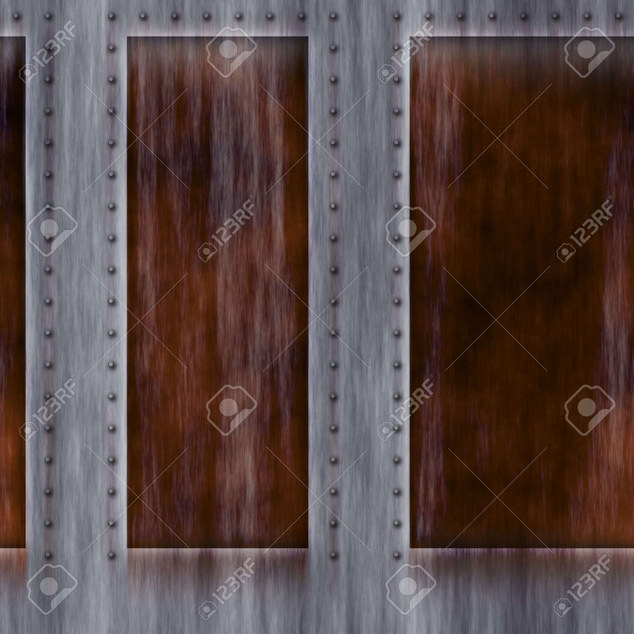Abstract weathered metallic texture. Rust and rivets. Stock Photo - 5794566