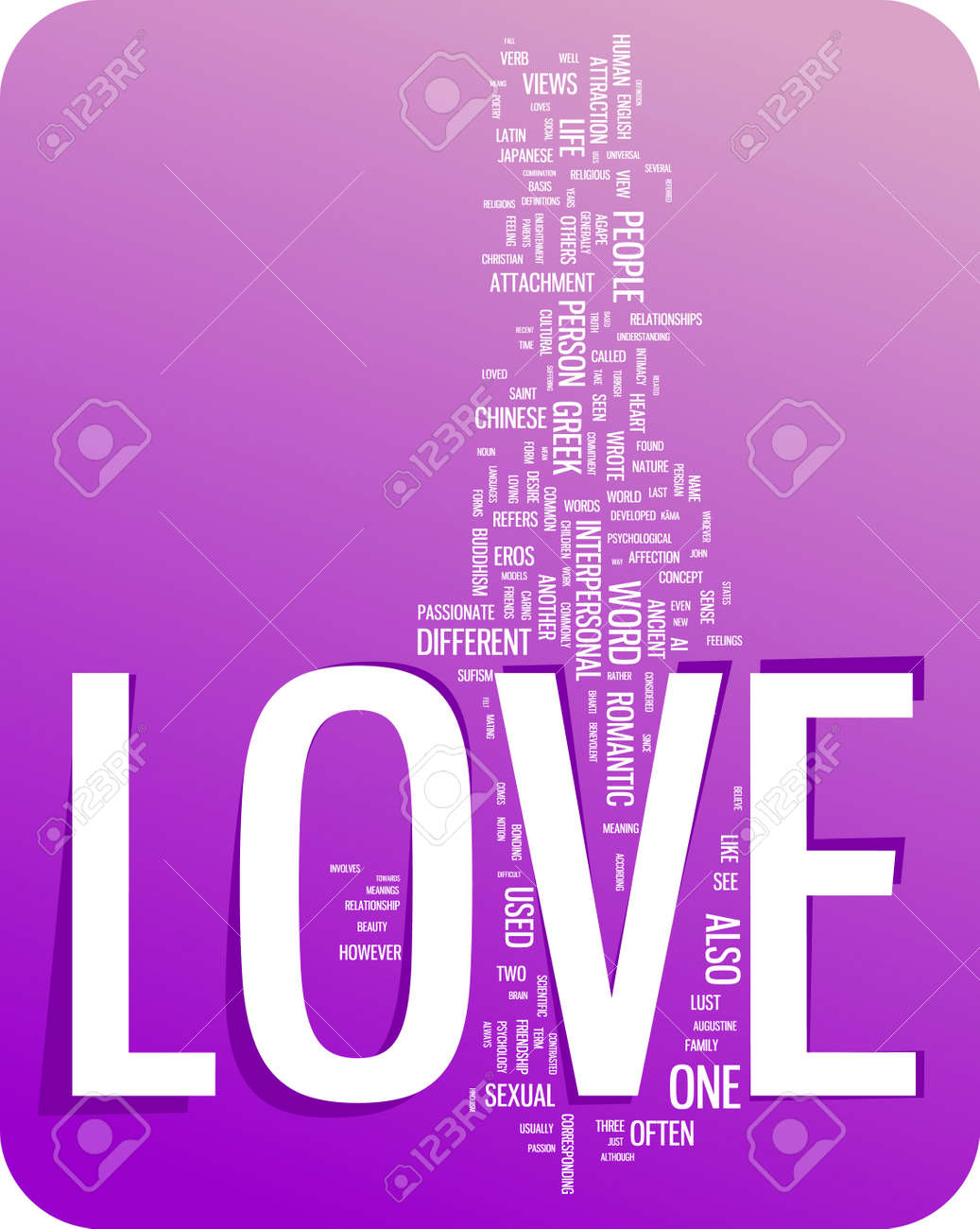 Love Word Cloud Il Ration Graphic Tag Collection Stock Vector