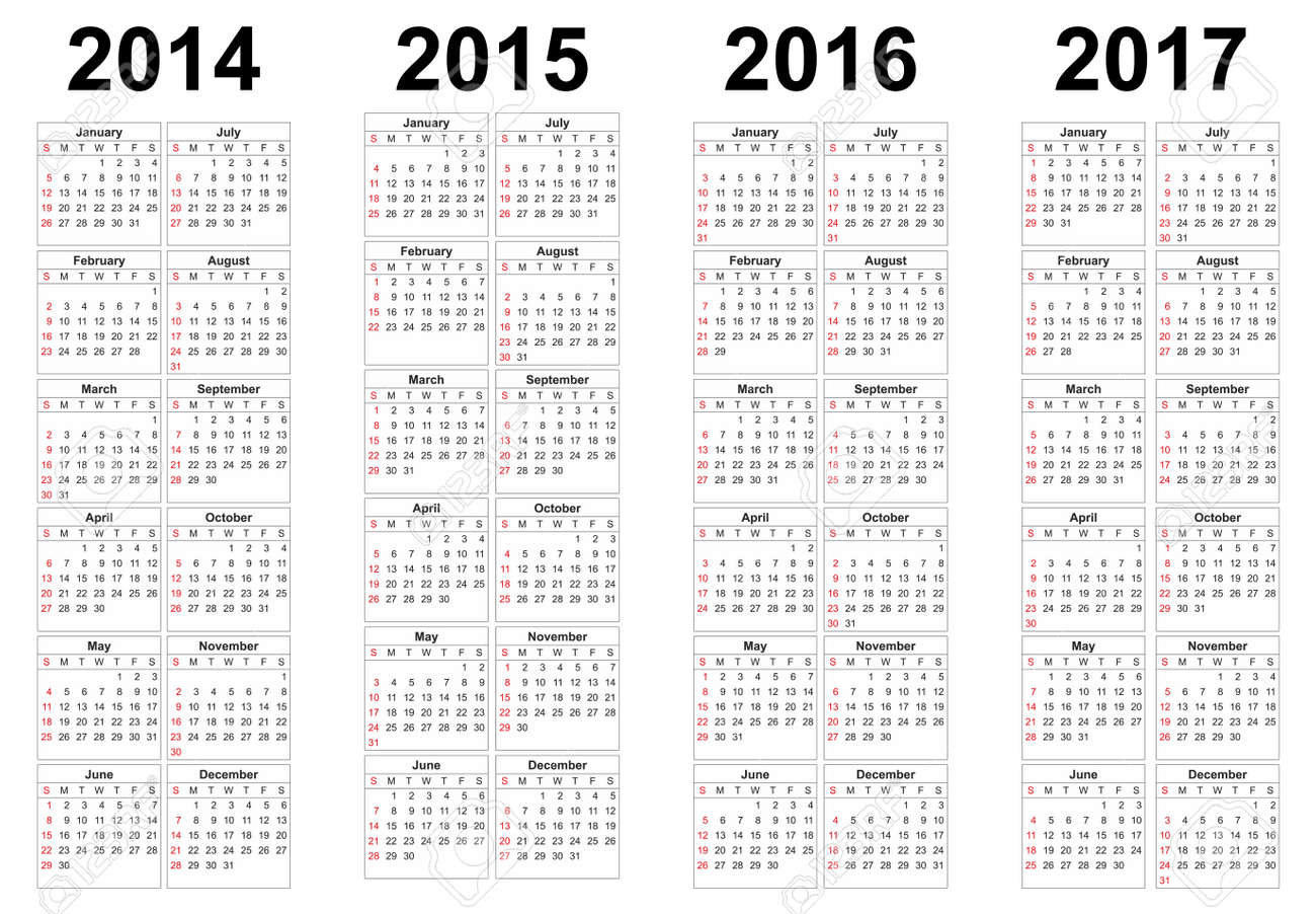 Set Of Square European 2014 2015 2016 2017 Year Vector Calendars