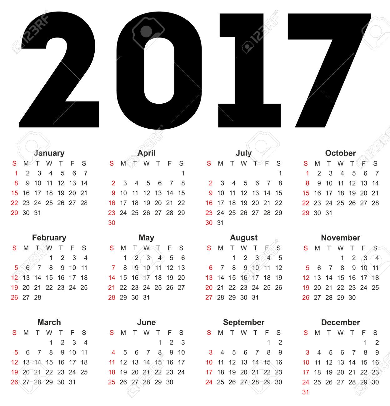 Kalender für 2017 auf weißem