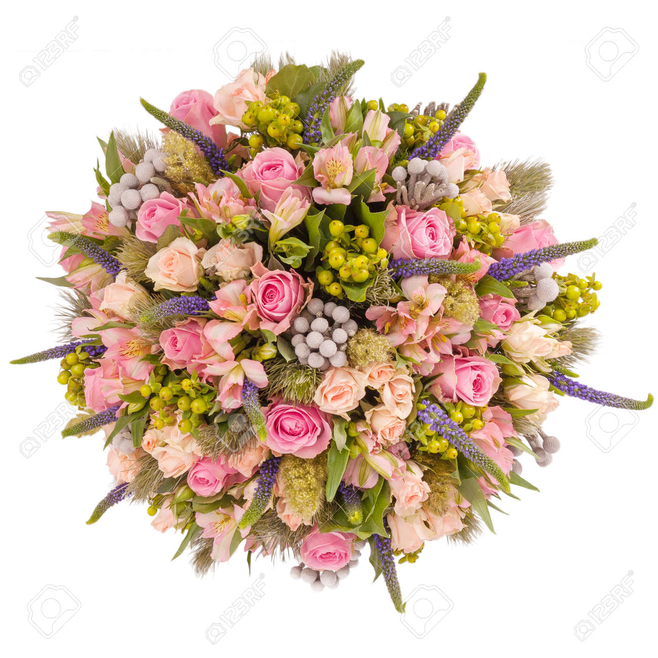 Bouquet Of Flowers Top View Isolated On White Stock Photo Picture