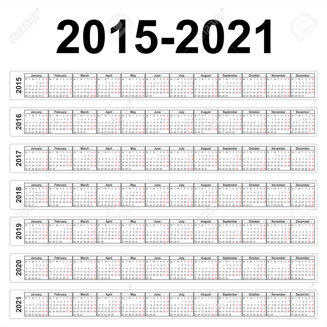 Calendriers Des Années 2015 Jusqu'à 2021 Clip Art Libres De Droits