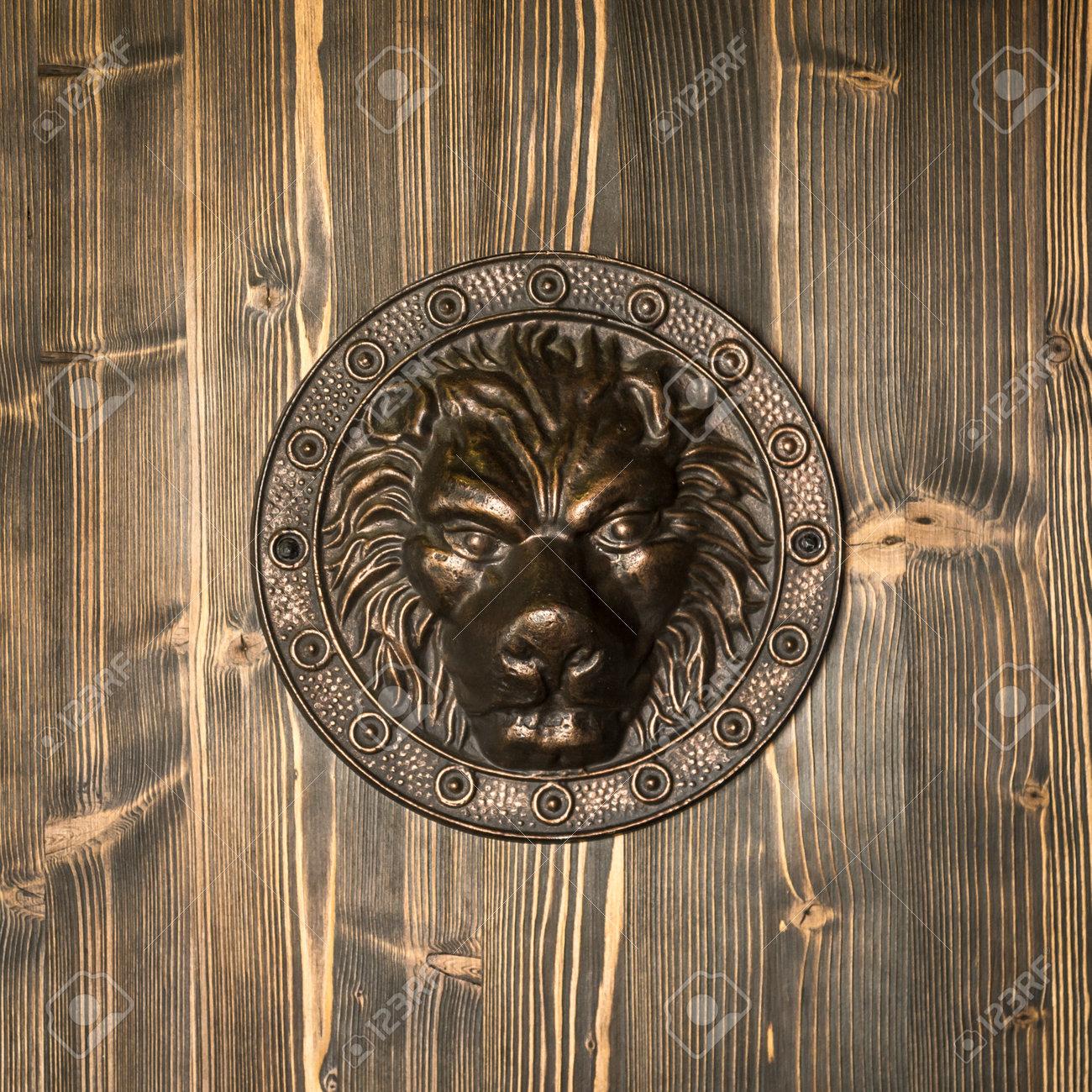 Vintage Brass Door Knocker Lion Head Decorative Detail On
