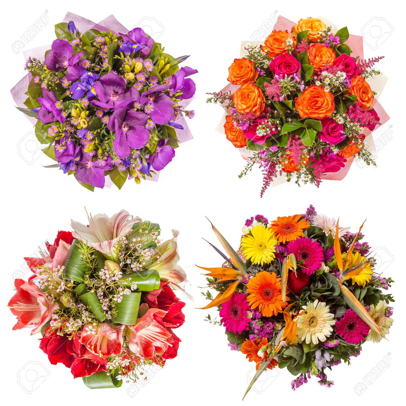 Top View Of Four Colorful Flower Bouquets. Stock Photo, Picture And ...