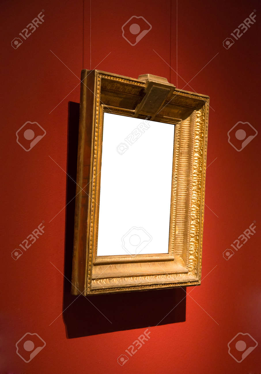 fede8ce18bb Ornate gold blank frame at wall. Stock Photo - 49077342
