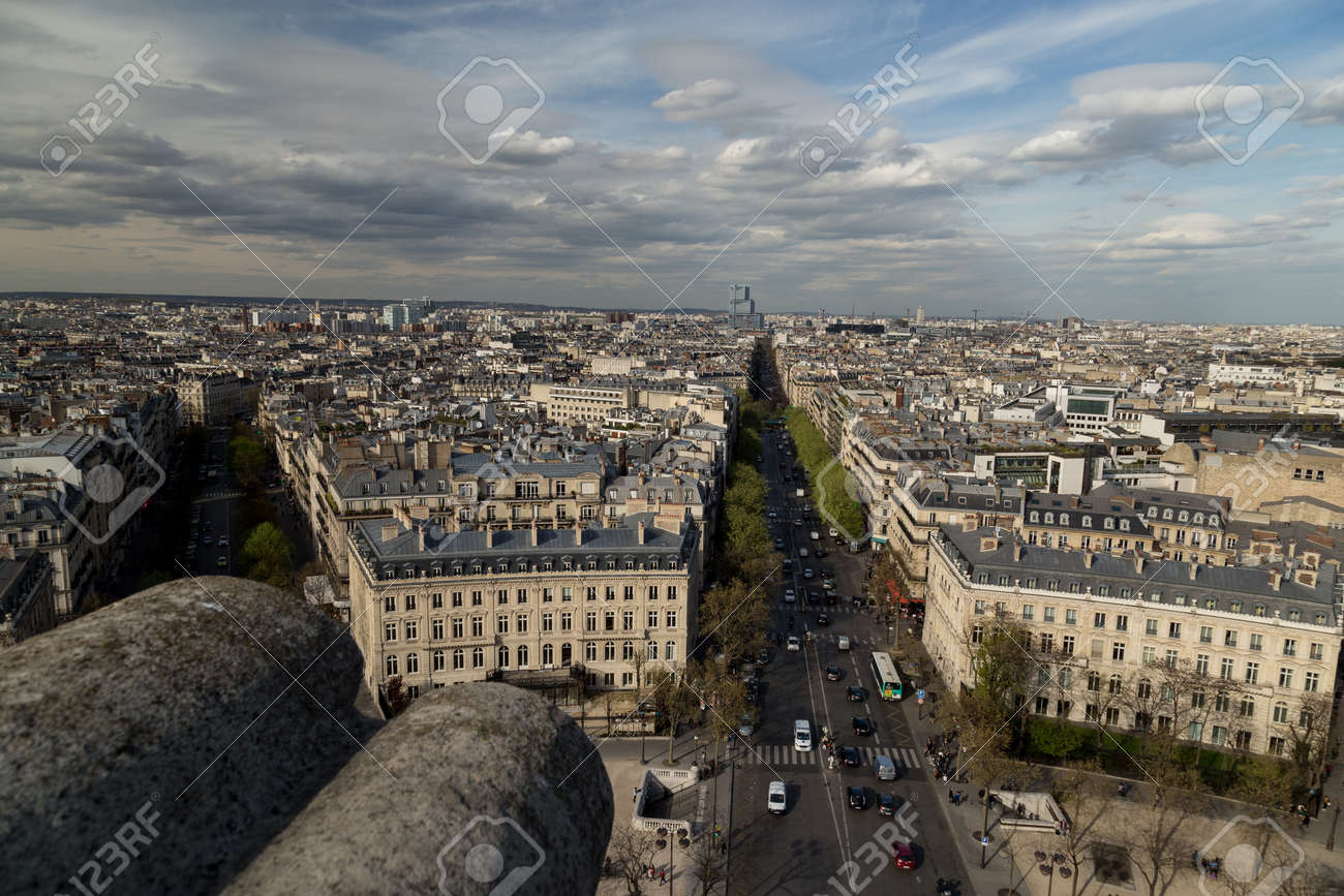 Beautiful panoramic view of Paris from the roof of the Triumphal Arch. Champs Elysees and the Eiffel Tower - 167063630