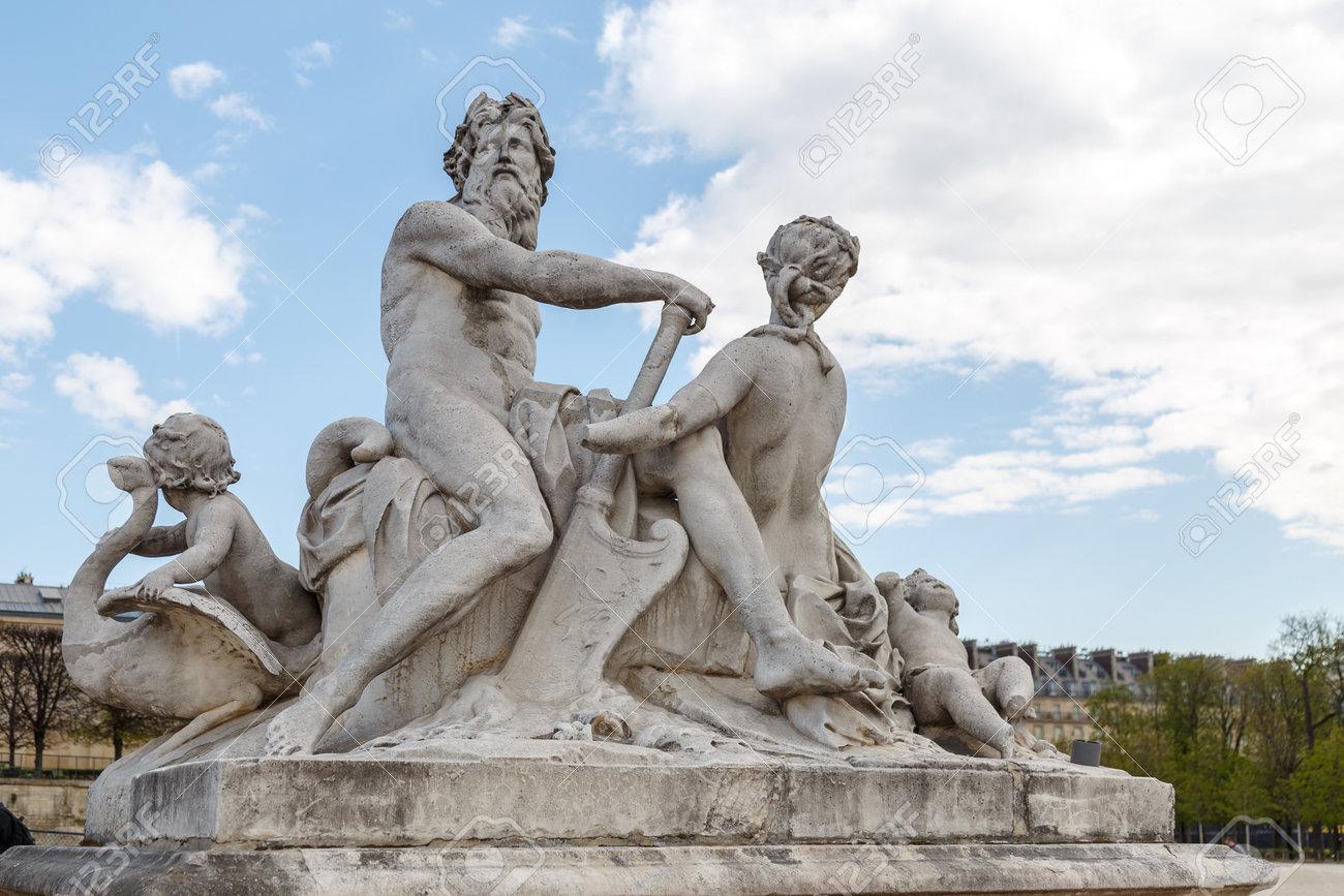 Sculpture in Jardin des Tuileries Tuileries garden - favorite spot for rest of tourists and Parisians. Garden was created by Catherine de Medici in 1564. Paris, France - 167063631