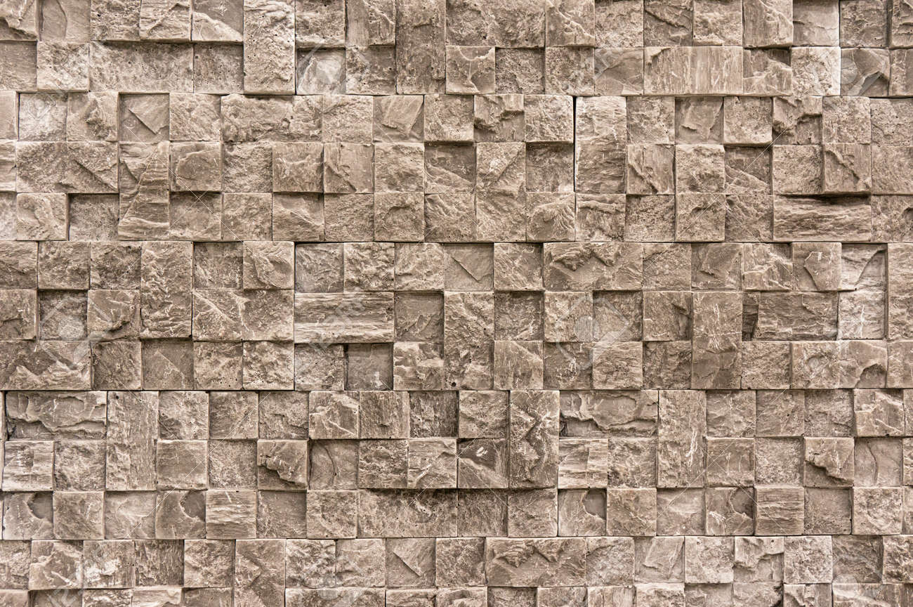 White cream marble stone limestone brick tile wall surface aged texture detailed pattern background - 154900060