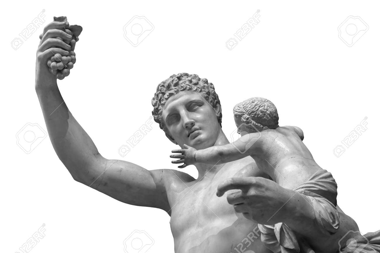 Statue of Dionysus or Bacchus with bunch of grapes isolated on white - 167665546