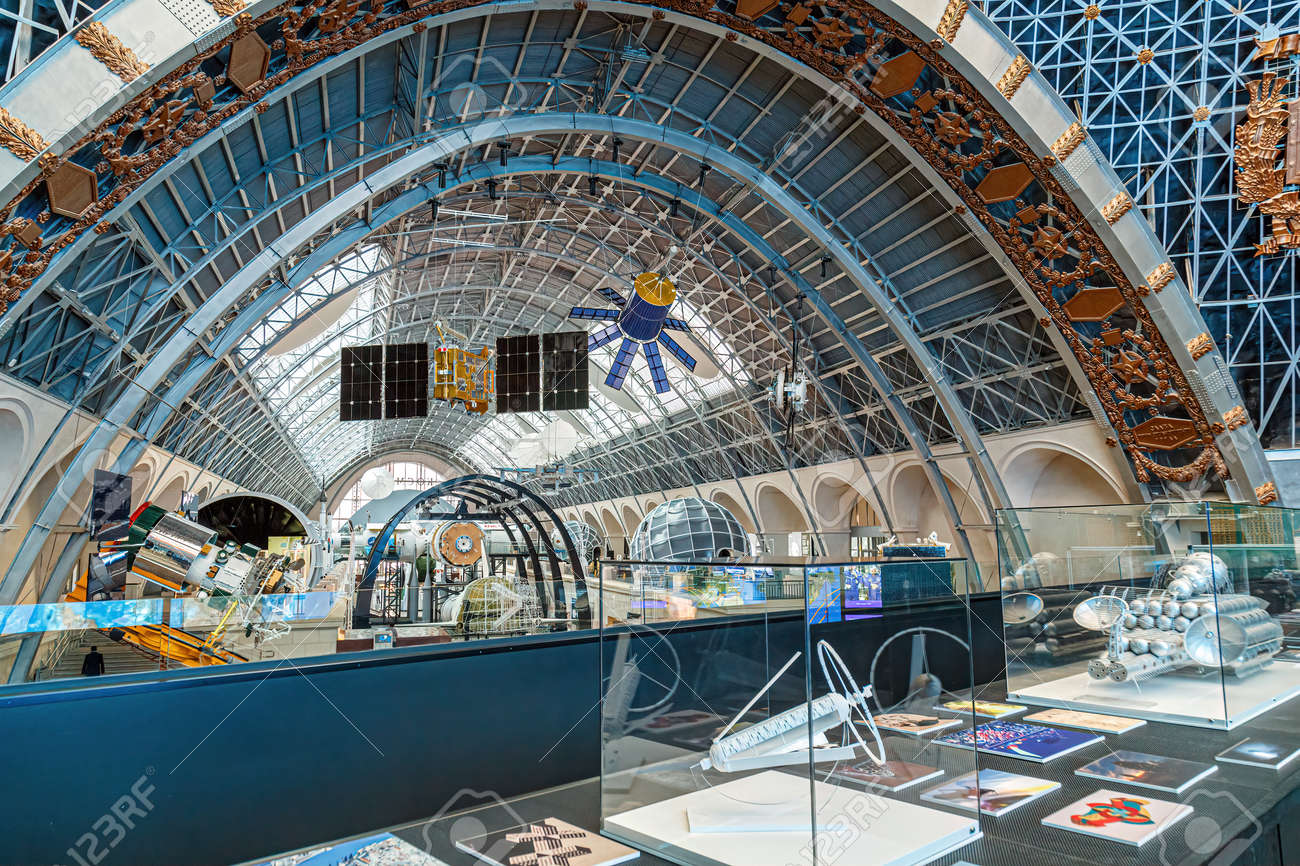 Moscow, Russia - November 28, 2018: Space museum. Inside The Cosmonautics and Aviation Centre in the Cosmos pavilion of VDNH. Aircraft exhibition. Rocket science - 167179957
