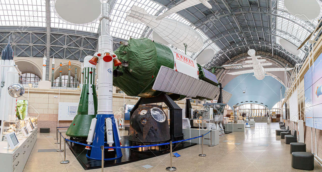 Moscow, Russia - November 28, 2018: Space museum. Inside The Cosmonautics and Aviation Centre in the Cosmos pavilion of VDNH. Aircraft exhibition. Rocket science - 167180514