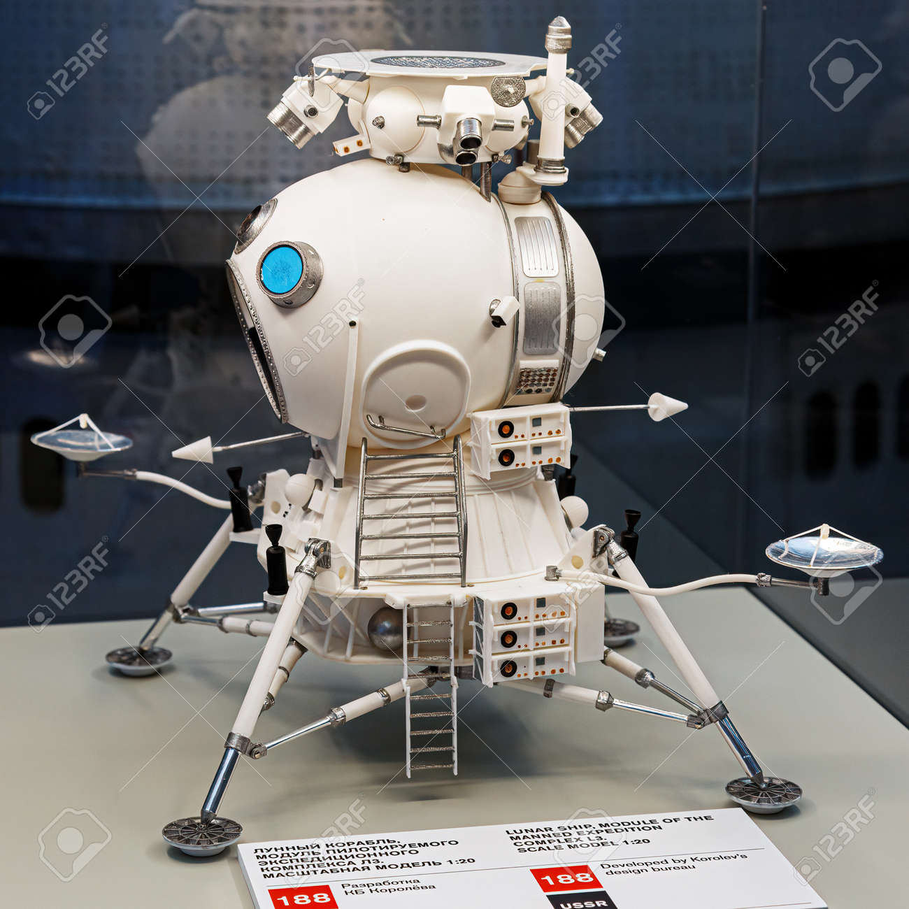 Moscow, Russia - November 28, 2018: Lunar landing module in Space museum. Inside The Cosmonautics and Aviation Centre in the Cosmos pavilion of VDNH. Aircraft exhibition. Rocket science - 167180512