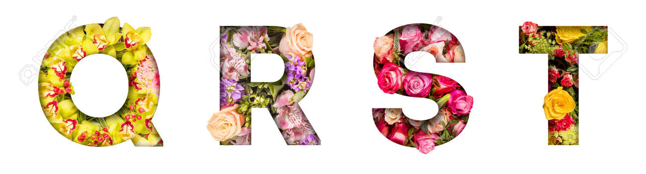Floral letters. The letters Q, R, S, T are made from colorful flower photos. A collection of wonderful flora letters for unique spring decorations and various creation ideas - 169111114