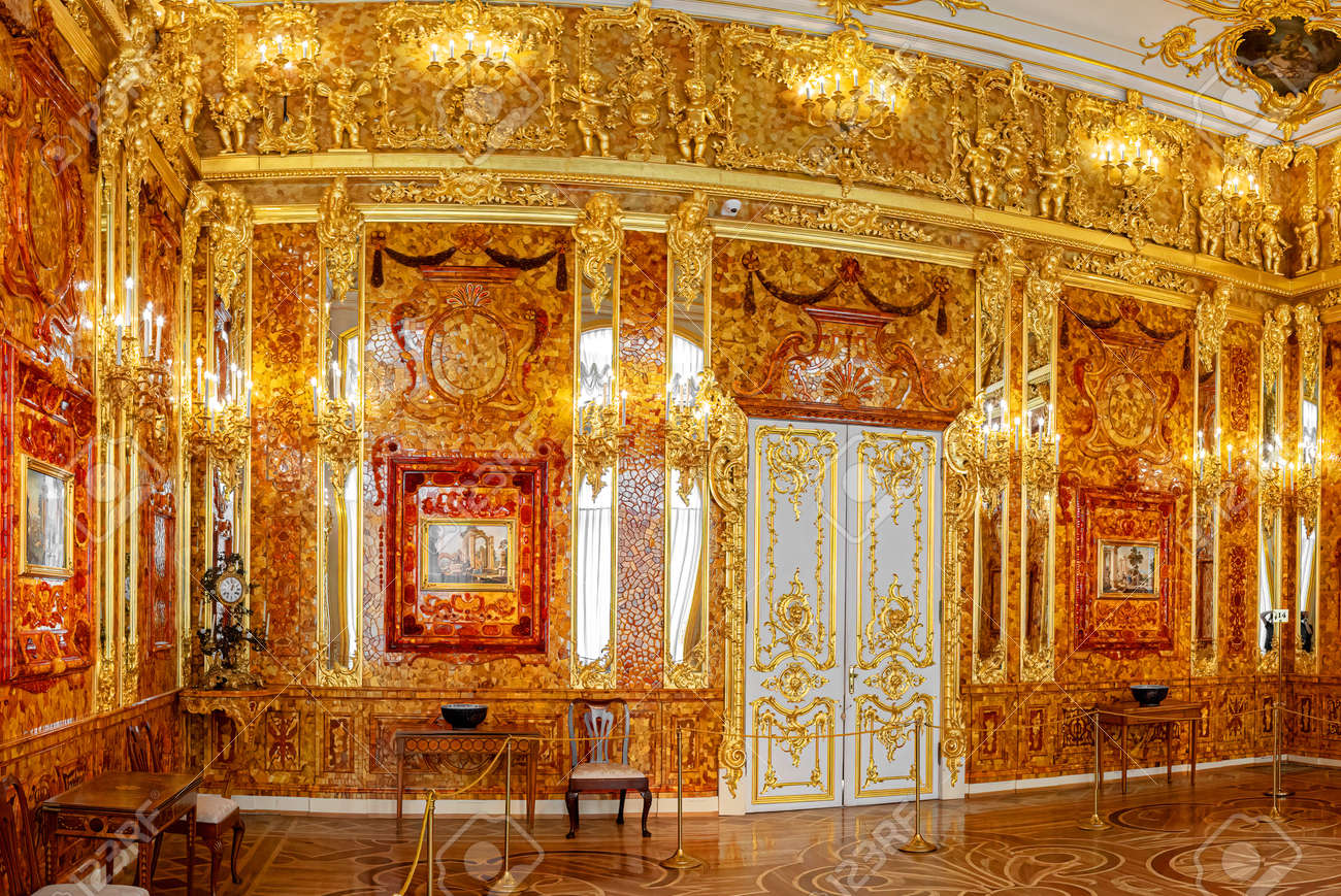 Saint-Petersburg, Russia - March 25 2021: Interior Amber Room, Catherine palace. The former imperial palace. Building is laid in 1717 on orders of Catherine. Tsarskoye Selo, Pushkin - 167871889
