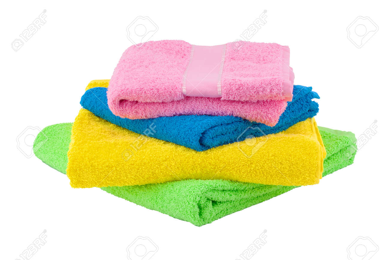Towel isolated on white background. Stack of colorful towels - 169111563
