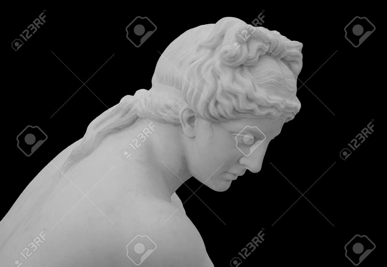 Ancient white marble sculpture head of young woman. Statue of sensual renaissance art era woman antique style. Face isolated on black background - 169669054