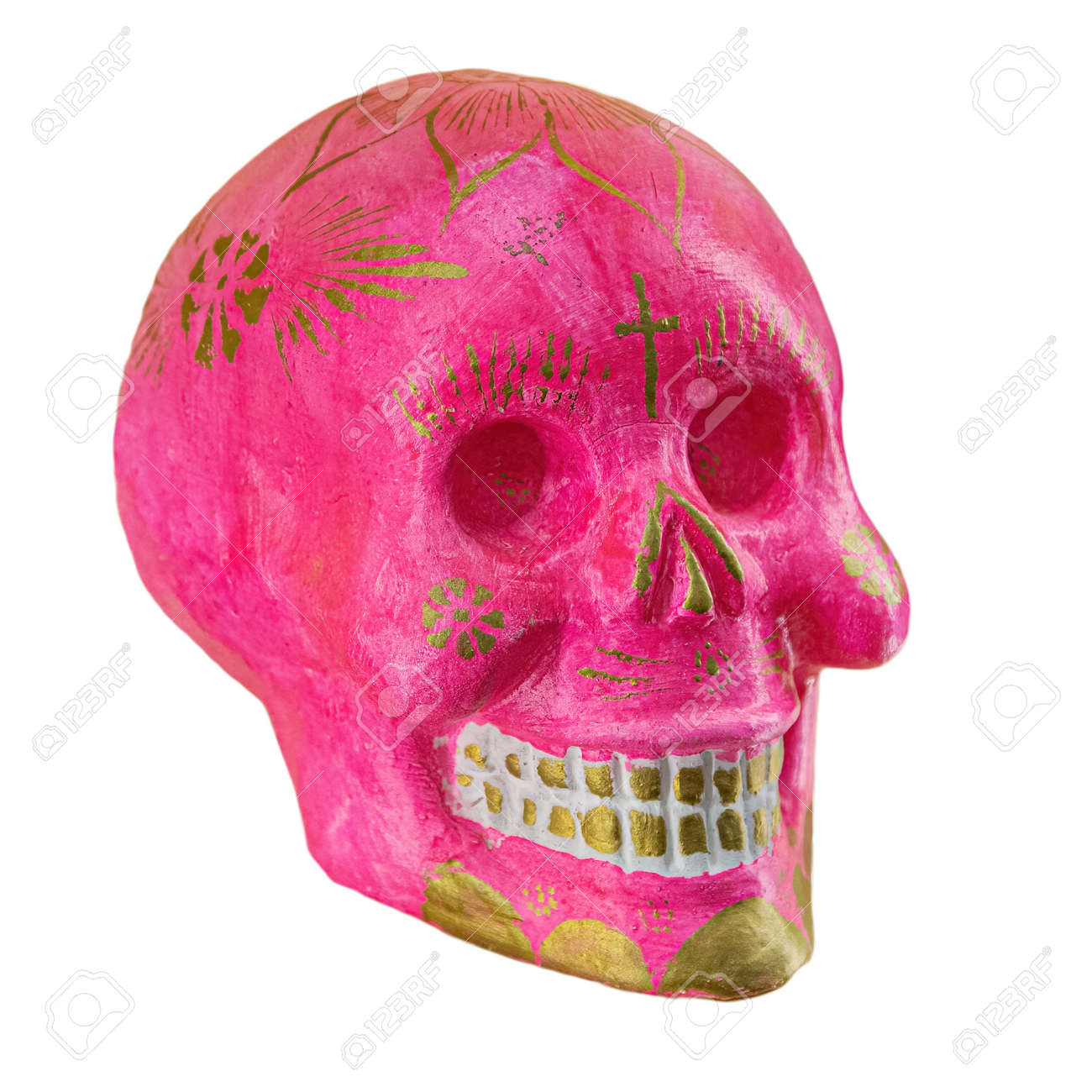 Typical Mexican skull painted isolated on white background. Dia de los muertos. Creative and minimal Day of the Dead or Halloween layout. Skull pink - 169669144