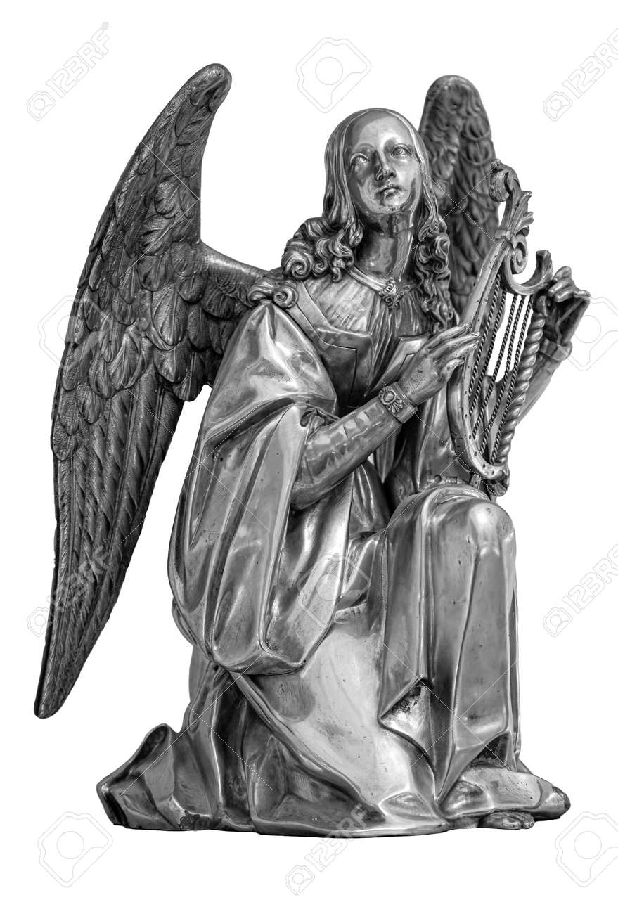 Angel with Harp. Muse statue isolated on white background - 169669151