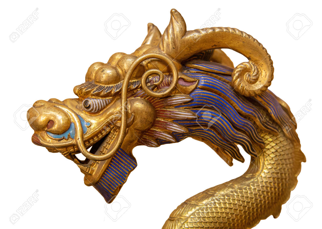 Golden Dragon isolated on white background - 169669157