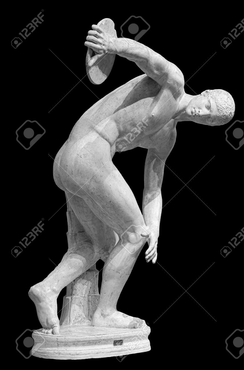 Discus thrower discobolus a part of the ancient . A Roman copy of the lost bronze Greek original. Isolated on black - 169669182