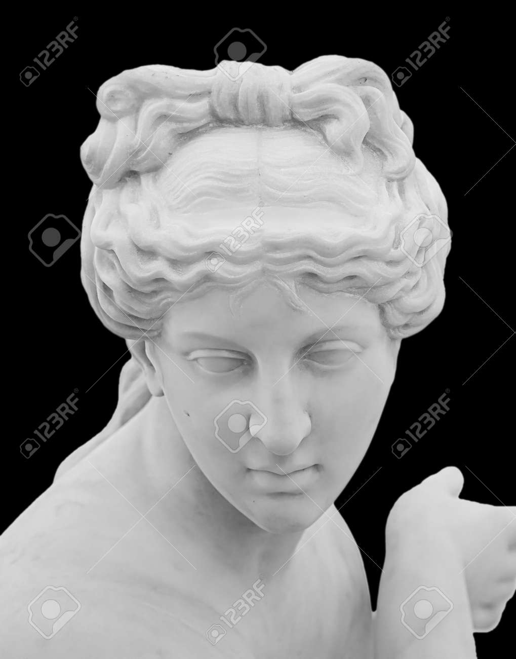 Ancient white marble sculpture head of young woman. Statue of sensual renaissance art era woman antique style. Face isolated on black background - 169669226