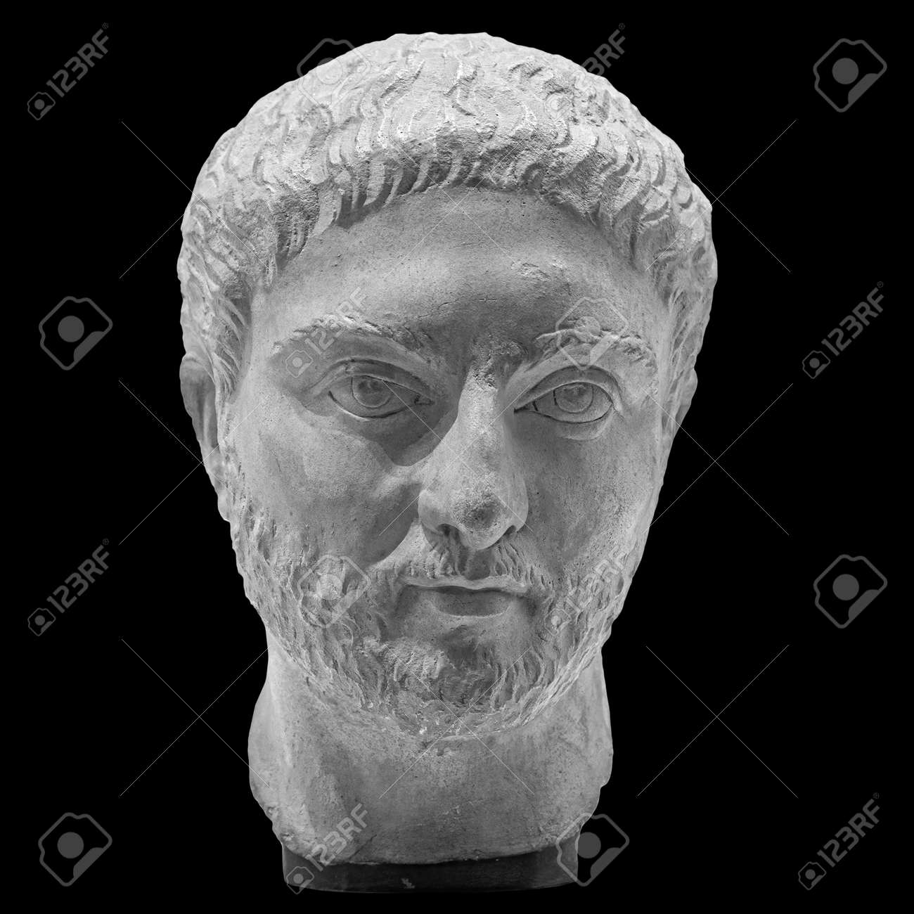 Gypsum copy of ancient statue man with beard head isolated on black background. Plaster sculpture man face - 169669231