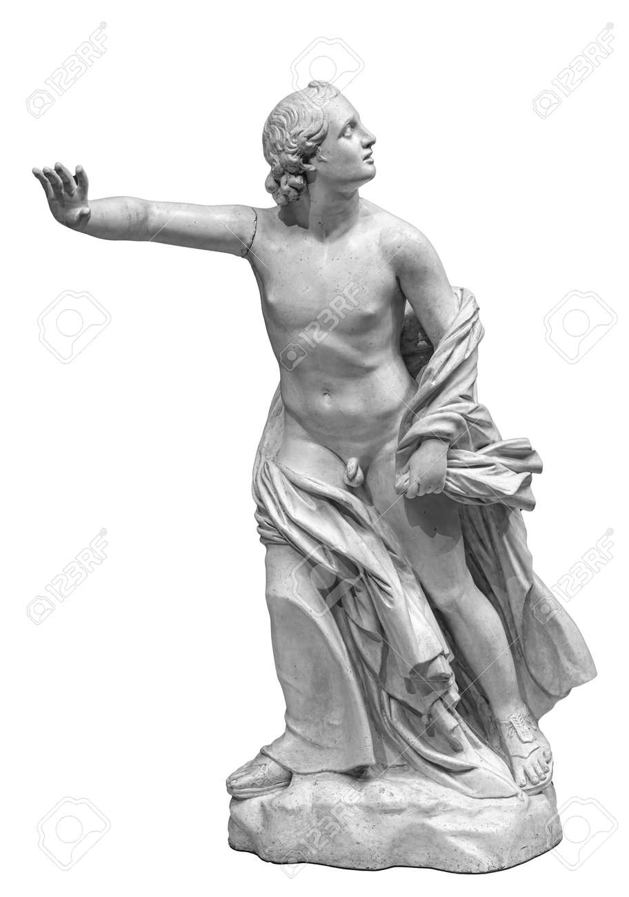 Ancient marble statue of a woman. Antique female sculpture. Sculpture isolated on white background - 169669232