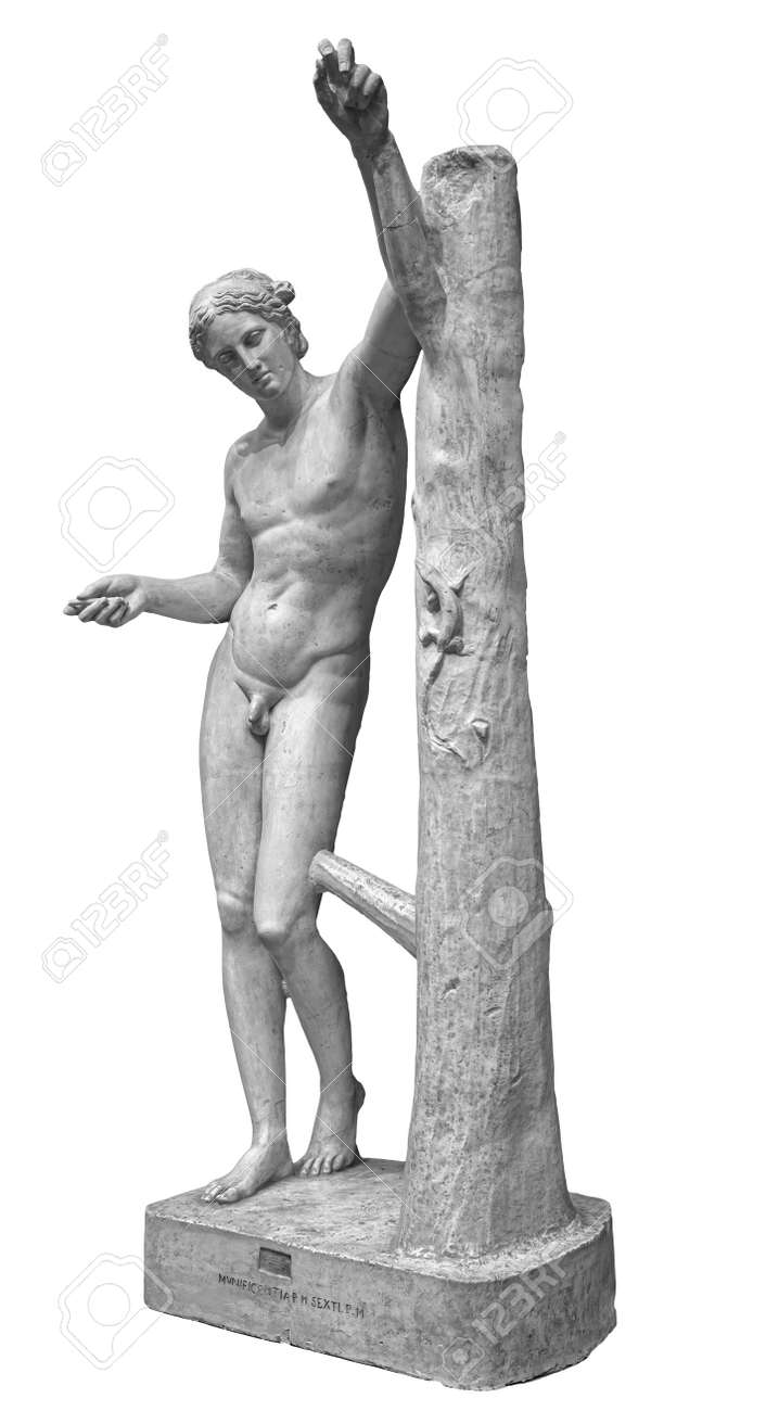 Ancient roman marble statue of a boy. Young man figure statue isolated on white background. Antique sculpture - 169669234