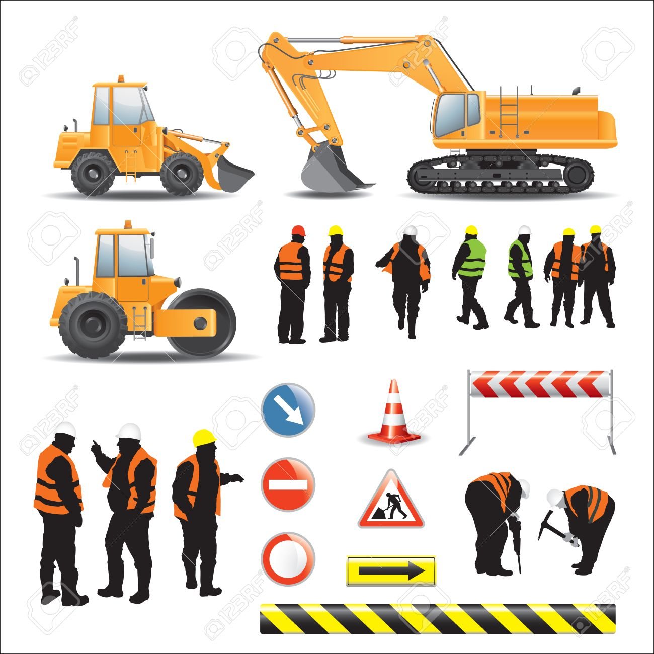 set of road under construction machines workers signs and banners stock vector 25471318
