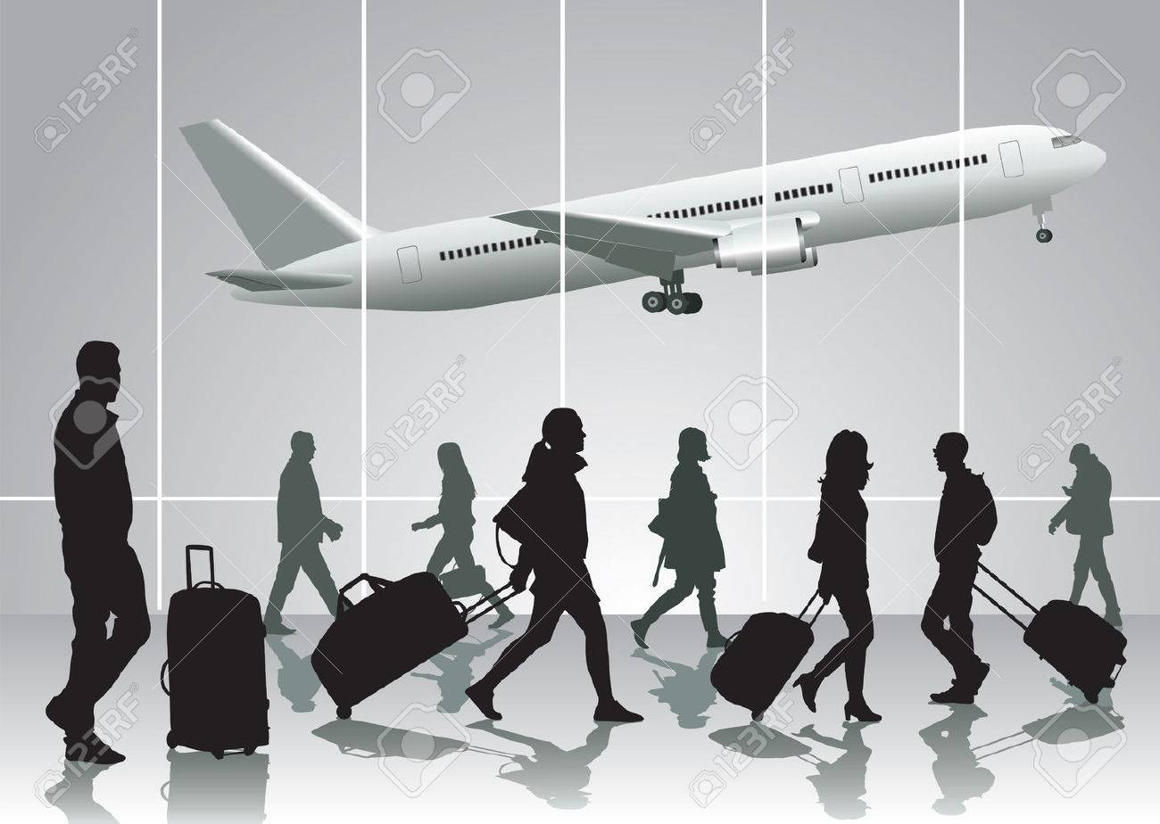 Traveling people walking at airport. Vector illustration - 27427689
