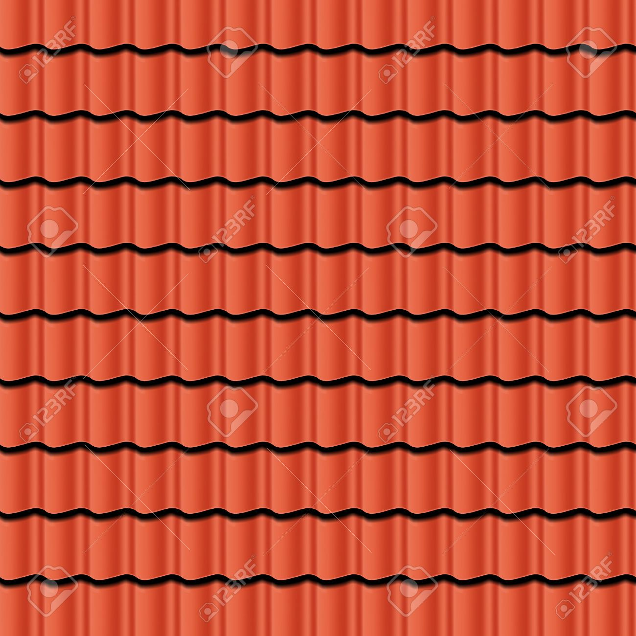 Red corrugated tile element of roof. Seamless pattern. Vector illustration Stock Vector - 36399819