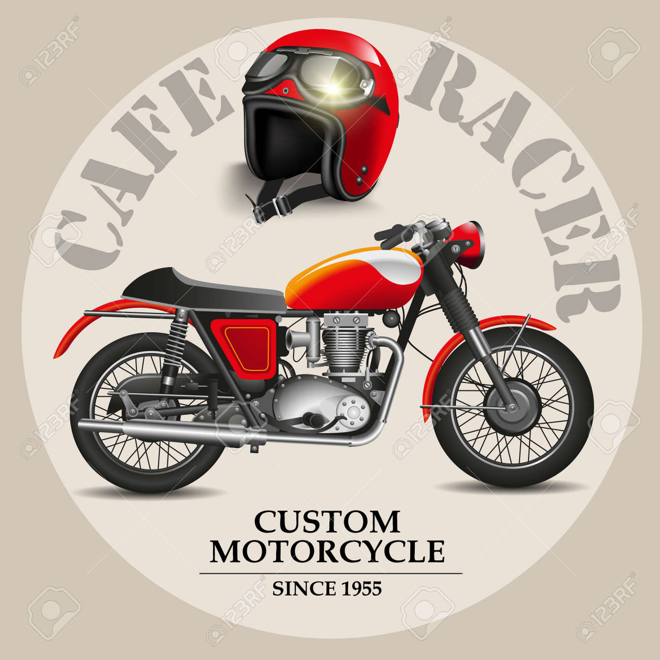 Cafe Racer Style Motorbike With Helmet On A White Background Vector Illustration Stock